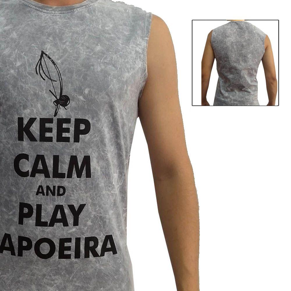 Camiseta Regata Artes Marciais- Play Capoeira - Cinza - John Brazil