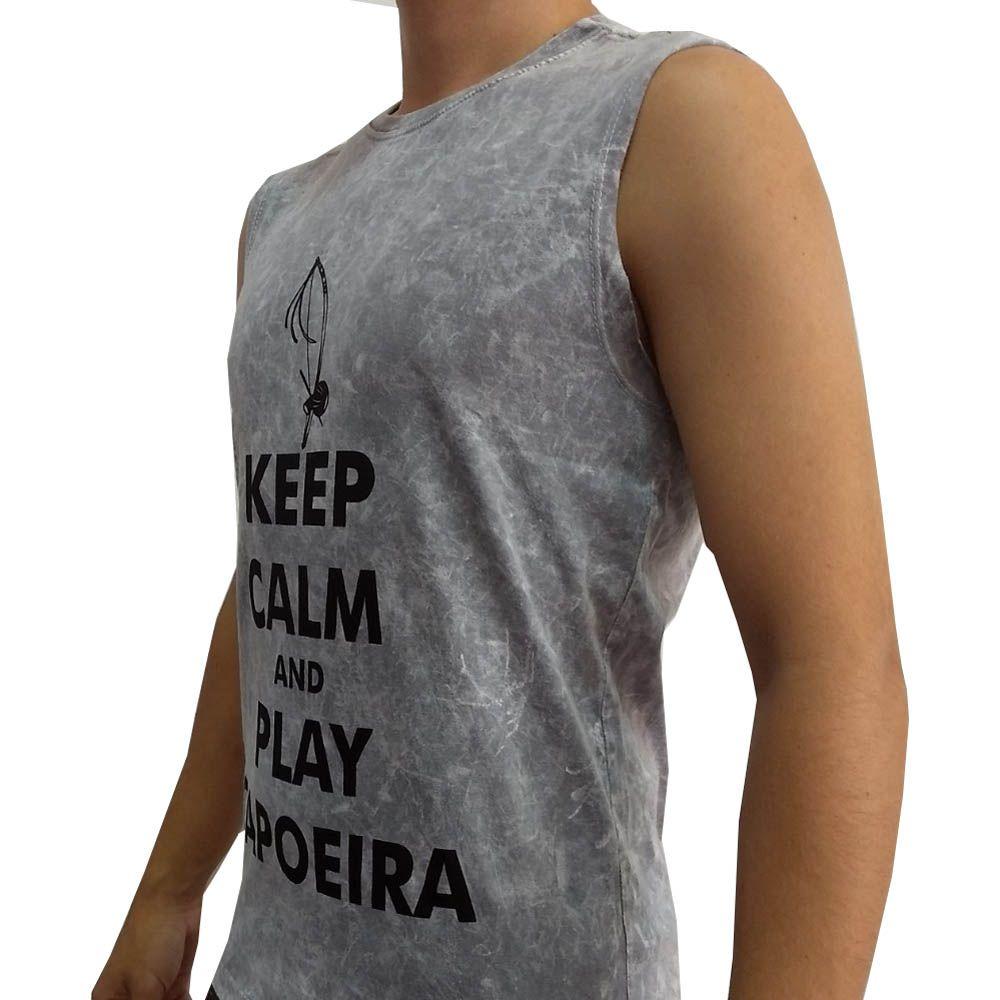 Camiseta Regata Artes Marciais- Play Capoeira - Cinza - John Brazil  - Loja do Competidor