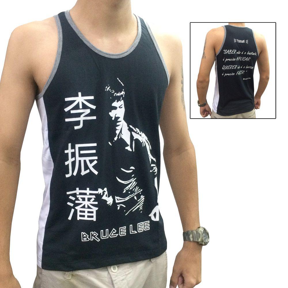 Camiseta/Regata - Bruce Lee - Preto/Cinza- Toriuk .