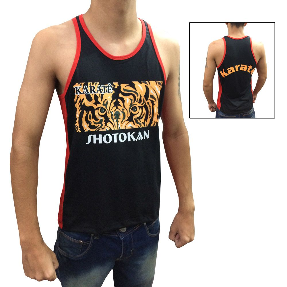 Camiseta Regata Eye of the Tiger - Karate Shotokan - Preto/Vermelho - Toriuk -