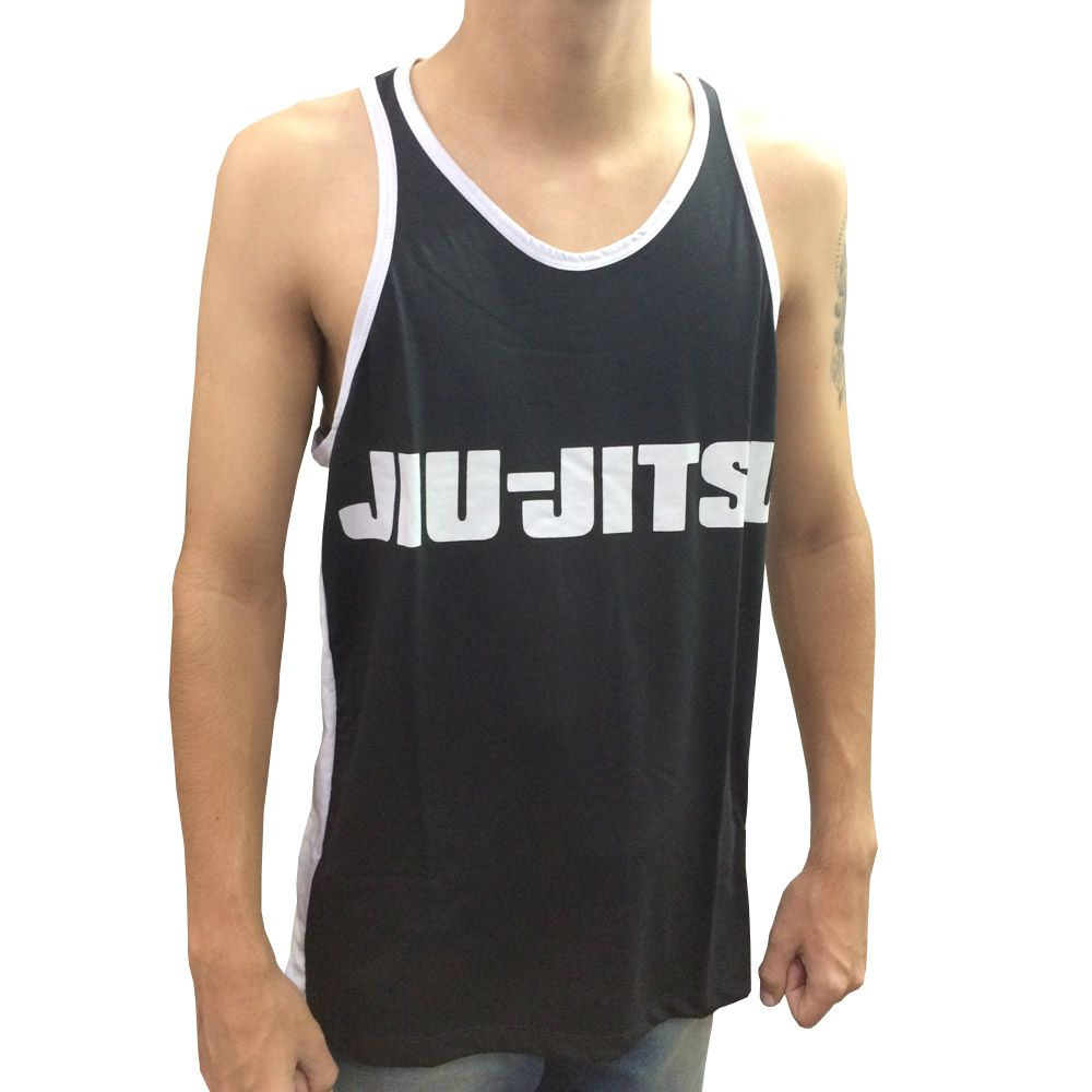 Camiseta Regata Jiu Jitsu - Vem pro Chão - Preto/Branco  - Loja do Competidor