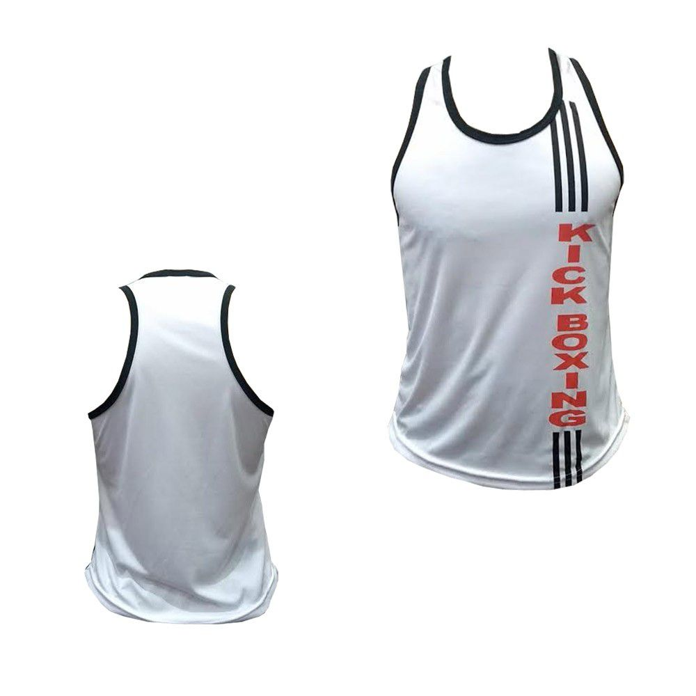 Camiseta Regata - Kickboxing - 3 Stripes - Branca -  Feminino - Duelo Fight -  - Loja do Competidor