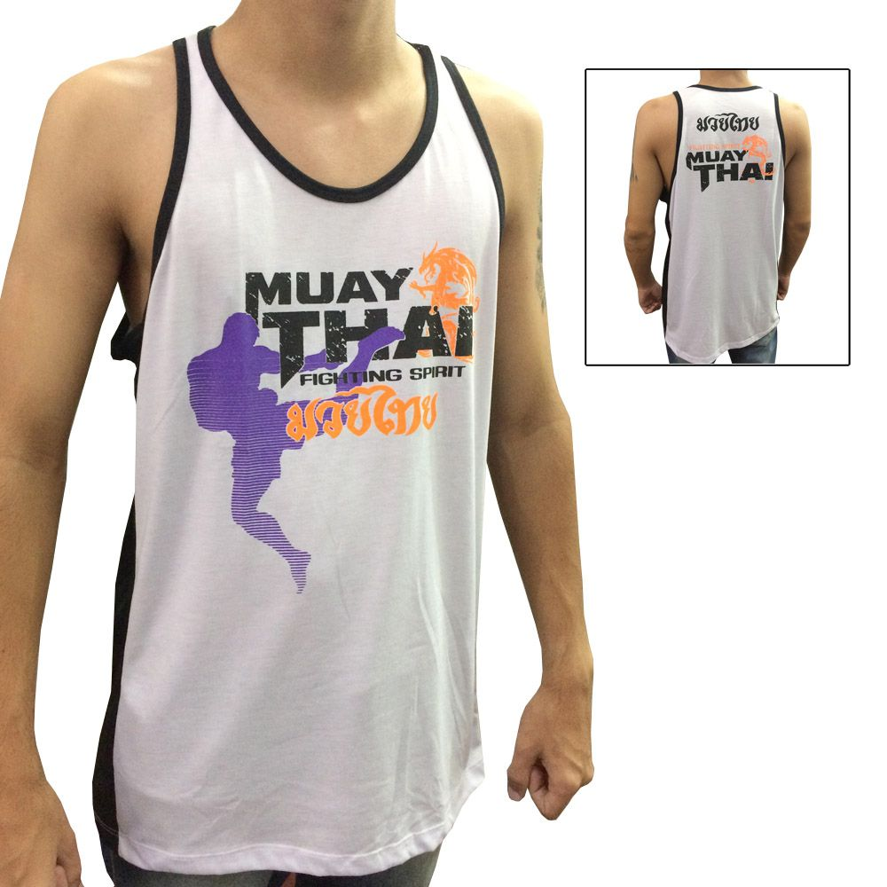 Camiseta/Regata - Muay Thai Dragon Spirit - Branco/Preto - Toriuk .