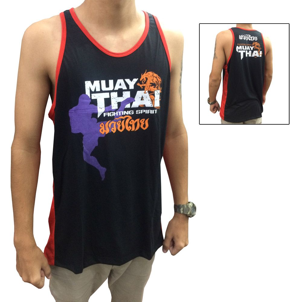Camiseta Regata Muay Thai Dragon Spirit - Preto/Vermelho - Toriuk