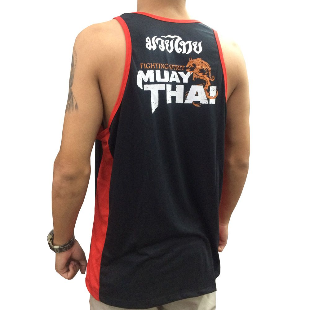 Camiseta Regata Muay Thai Dragon Spirit - Preto/Vermelho - Toriuk  - Loja do Competidor