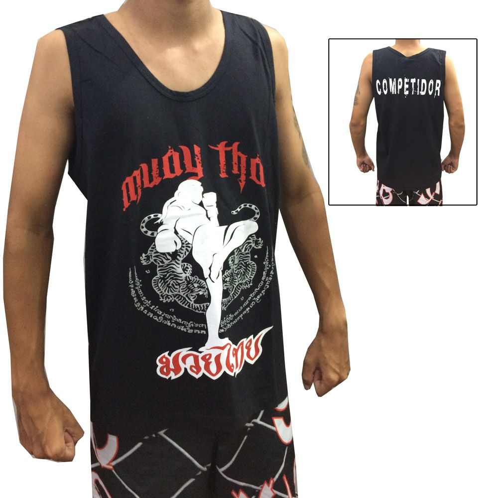 Camiseta Regata Muay Thai Khao Trong - Preta - Duelo Fight