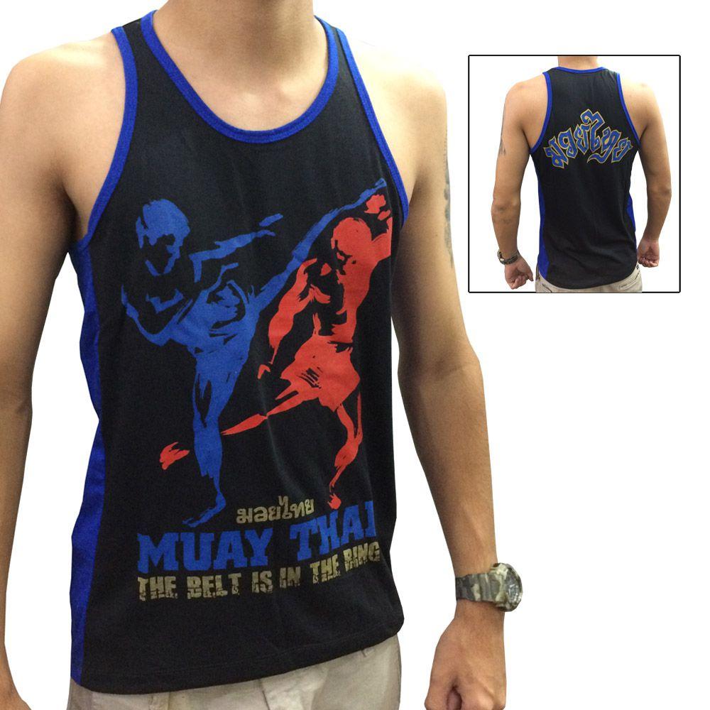 Camiseta/Regata -Muay Thai - The Kicks - Preto/Azul - Toriuk .  - Loja do Competidor