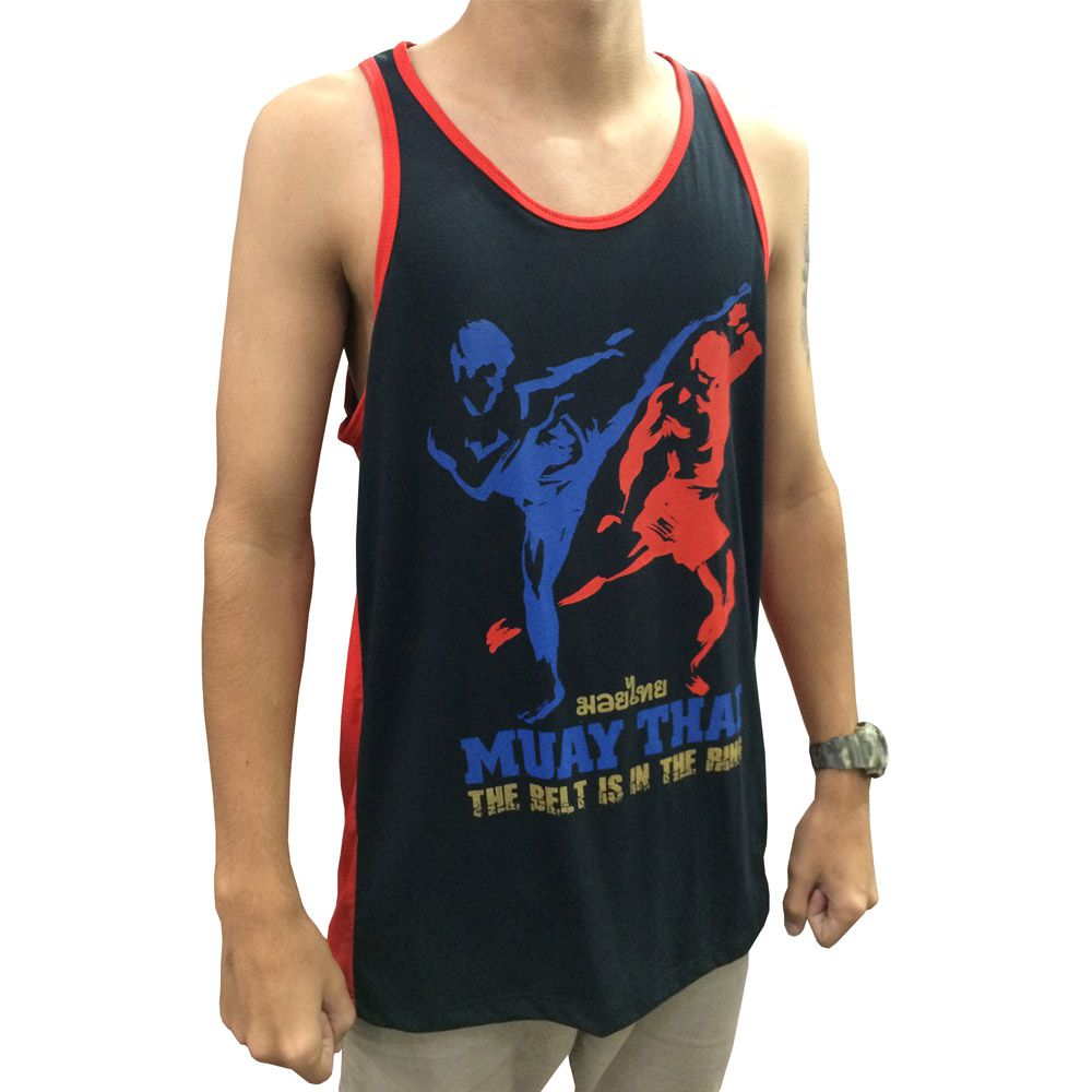 Camiseta Regata Muay Thai - The Kicks - Preto/Verm - Toriuk - - Loja do Competidor
