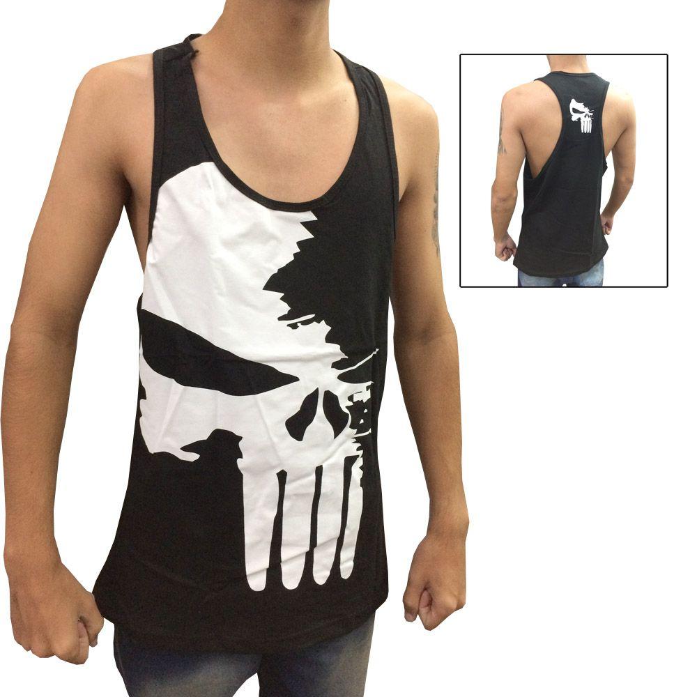 Camiseta Regata Musculação - Justiceiro - Preto/Branco - Toriuk