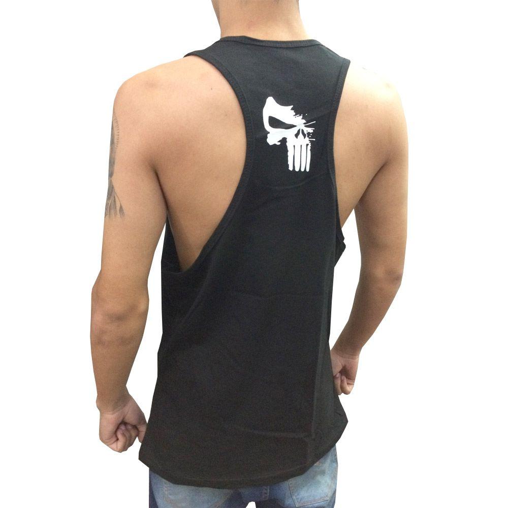 Camiseta Regata Musculação - Justiceiro - Preto/Branco - Toriuk  - Loja do Competidor