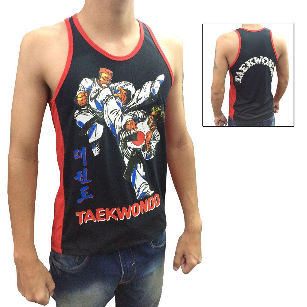 Camiseta Regata - Taekwondo Fighters - Yop - Preto/Vermelho- Toriuk