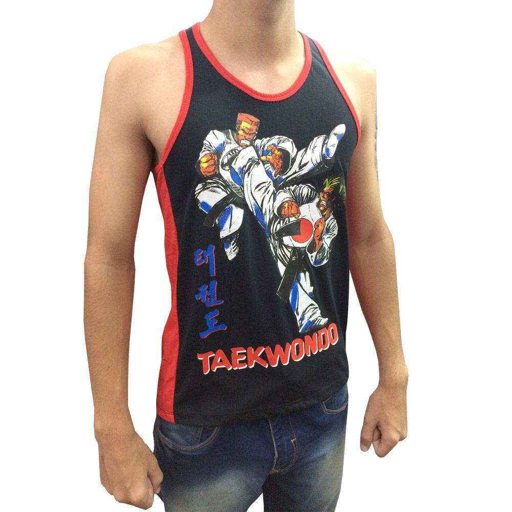Camiseta Regata - Taekwondo Fighters - Yop - Preto/Vermelho- Toriuk  - Loja do Competidor