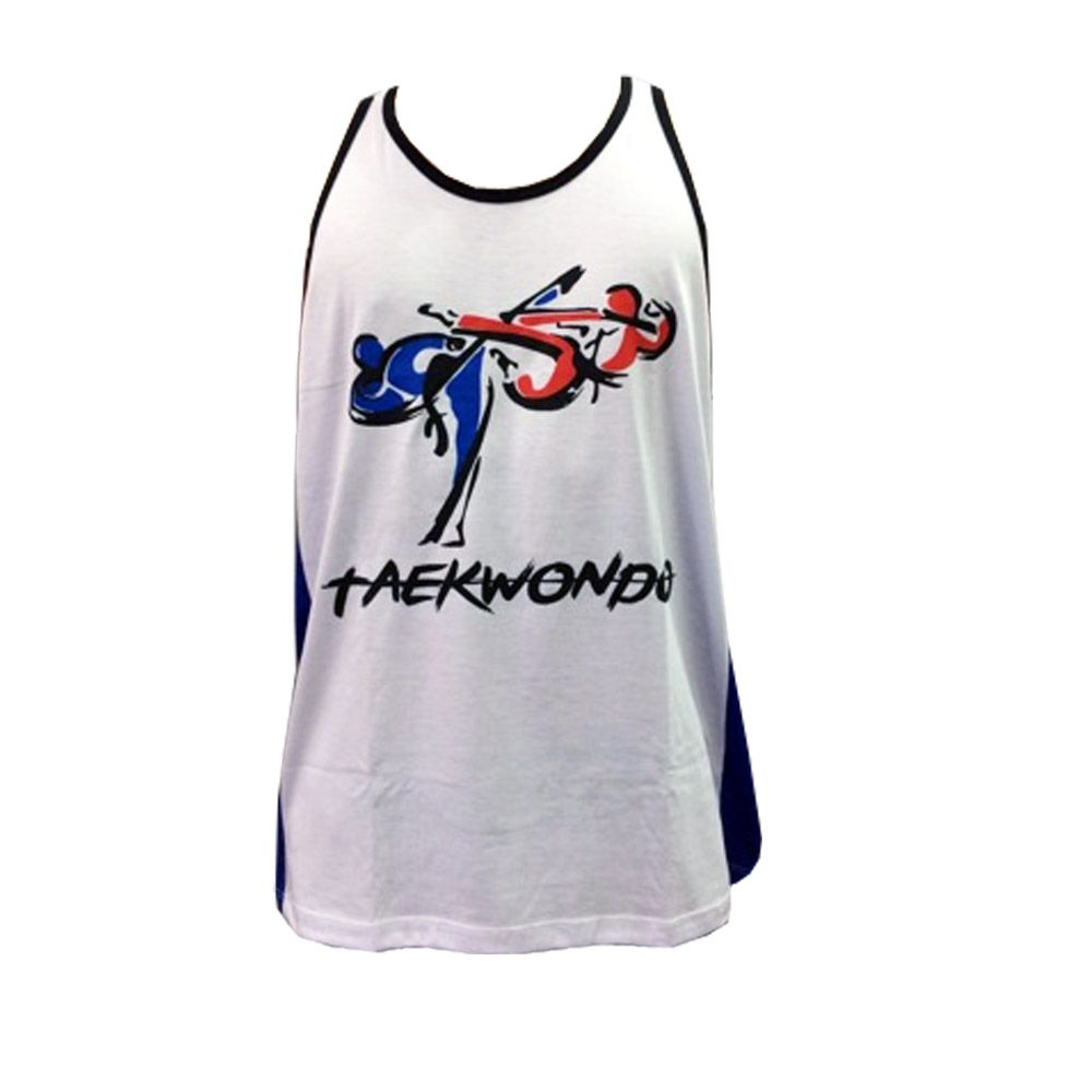 Camiseta Regata - Taekwondo - Kyorugi Korean - Branco/Azul- Toriuk  - Loja do Competidor