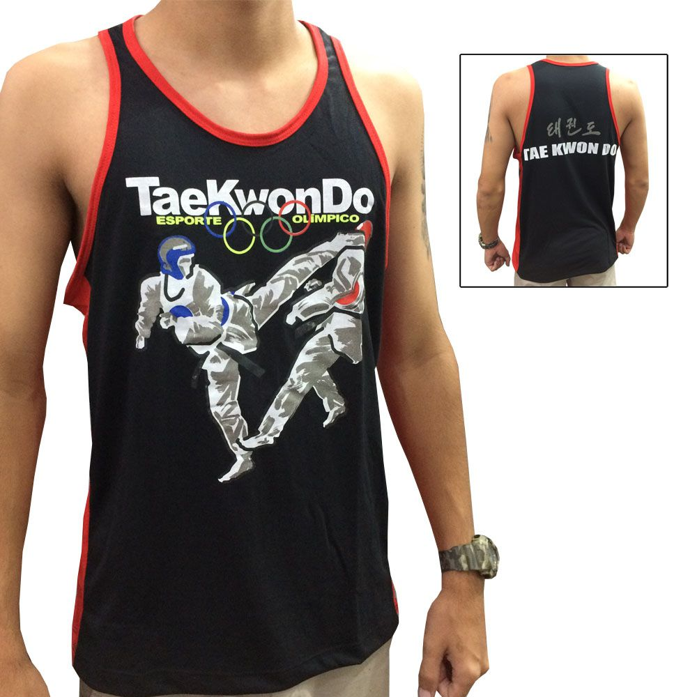 Camiseta Regata Taekwondo Olímpico - Preto/Verm - Toriuk