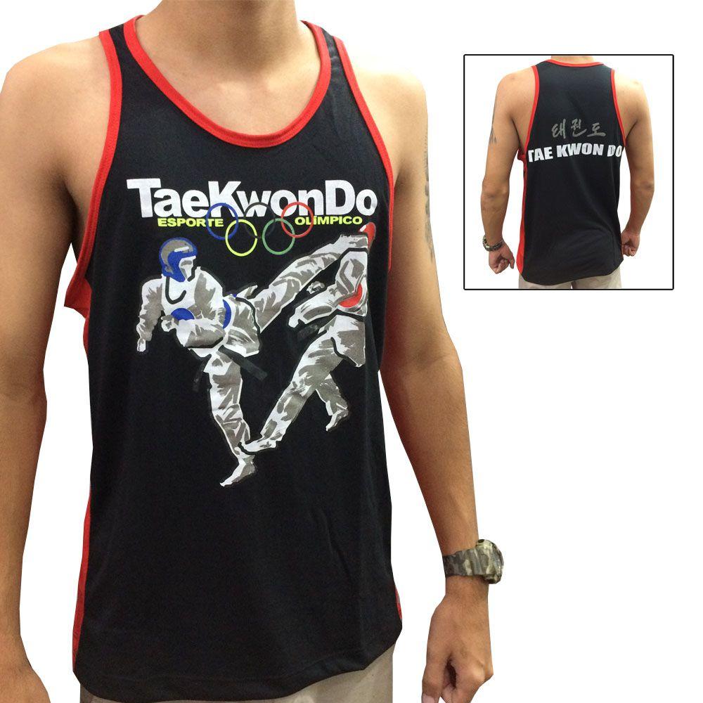 Camiseta Regata Taekwondo Olímpico - Preto/Verm - Toriuk  - Loja do Competidor