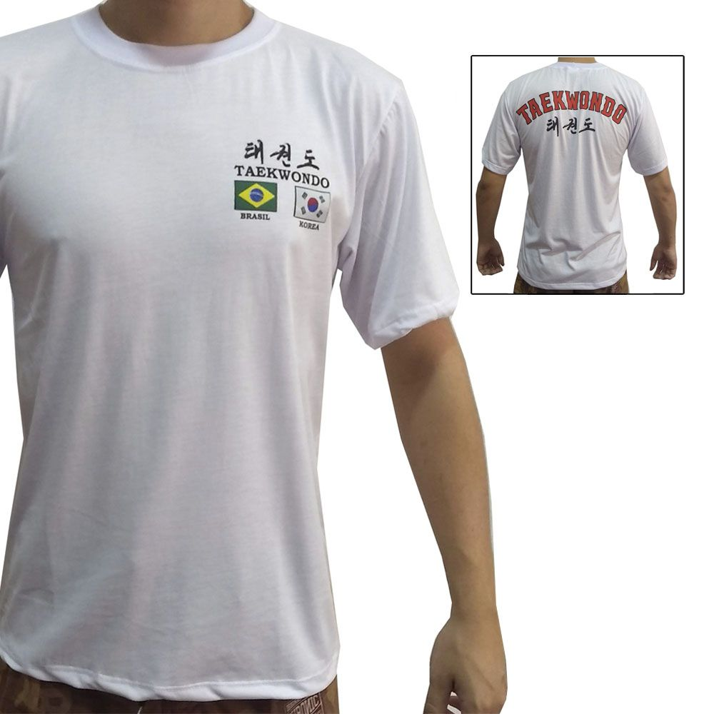 Camiseta Uniforme de Treino Taekwondo Flags - Branco - Toriuk