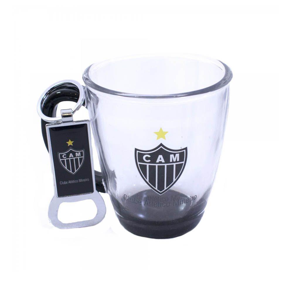 Caneca de Vidro com Abridor de Garrafas- 280 ml - G003- Atlético Mineiro - Pentagol