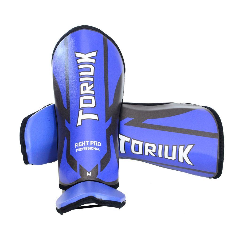Caneleiras Kick Boxing Muay Thai com Peito de Pé Fixo - Profissional - Armour - Azul - Toriuk -
