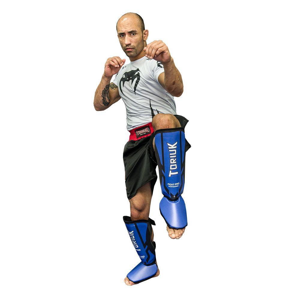 Caneleiras Kick Boxing Muay Thai com Peito de Pé Fixo - Profissional - Armour - Azul - Toriuk -  - Loja do Competidor