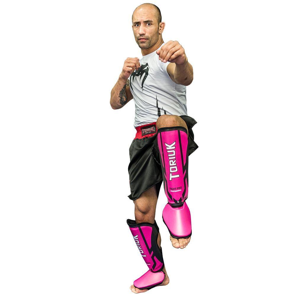 Caneleiras Kick Boxing Muay Thai com Peito de Pé Fixo - Profissional - Armour - Pink- Toriuk -  - Loja do Competidor