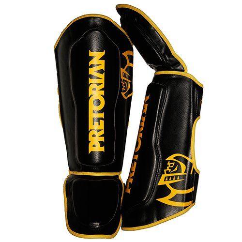 Caneleiras Kick Boxing Muay Thai - Spartan - Preto/Amarelo - Pretorian Training