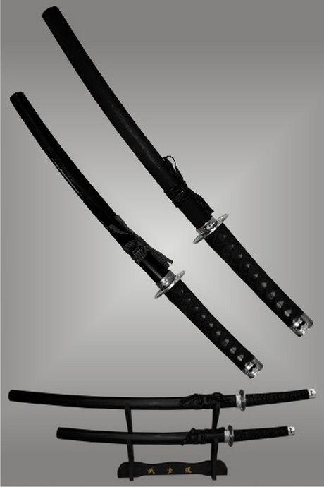 Conjunto 2 Espadas -  Katana + Wakizashi + Suporte -  Brilhante  - Loja do Competidor