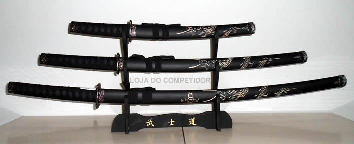 Conjunto 3 Espadas -  Katana + Suporte -  Fosco