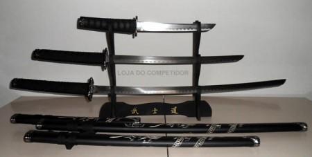 Conjunto 3 Espadas -  Katana + Suporte -  Fosco .  - Loja do Competidor