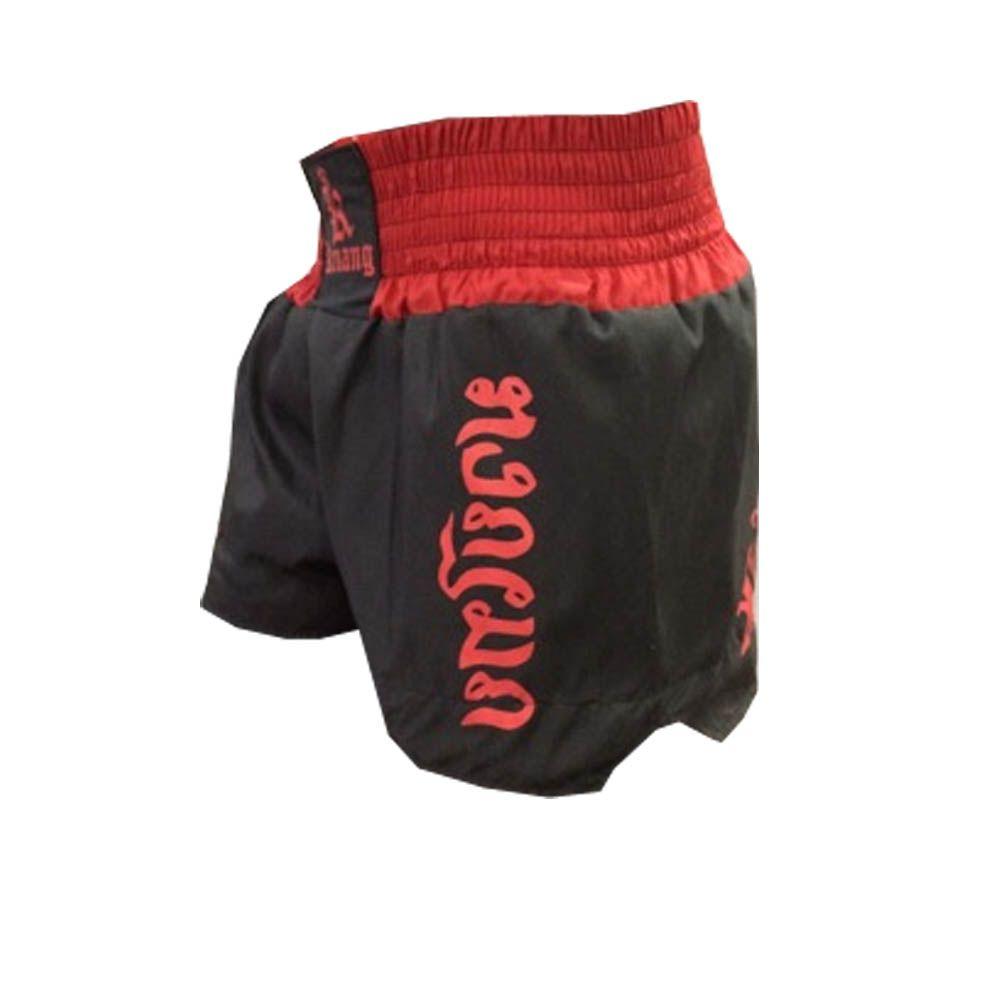 Calção / Short Muay Thai - Kruang - The Crown - Preto/Vermelho- Uppercut  - Loja do Competidor