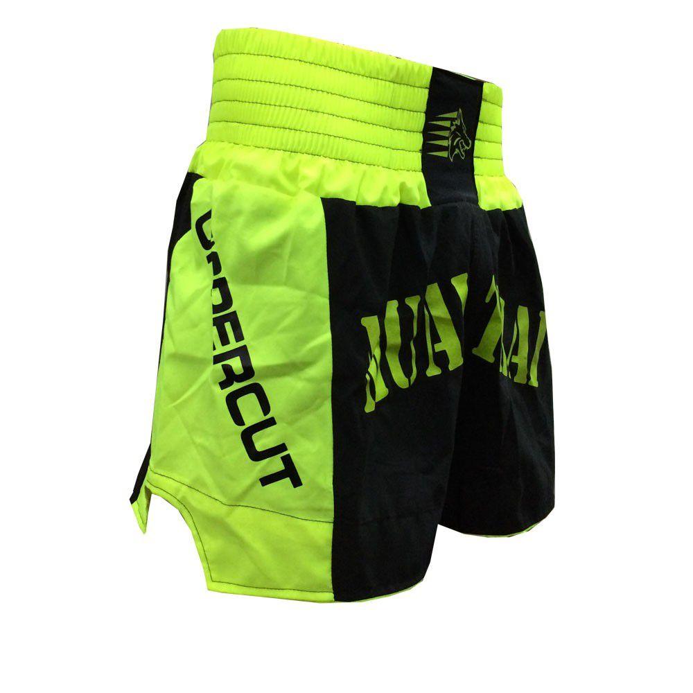 Calção Short Muay Thai- Premium - Preto/Verde- Uppercut -  - Loja do Competidor