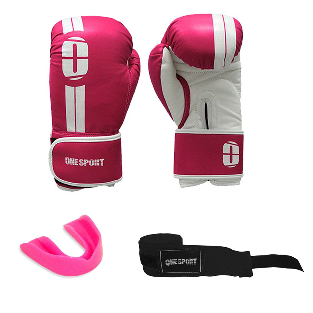 Kit Luvas Boxe / Muay Thai - Elite - One Sport - Rosa- 12/14 OZ .