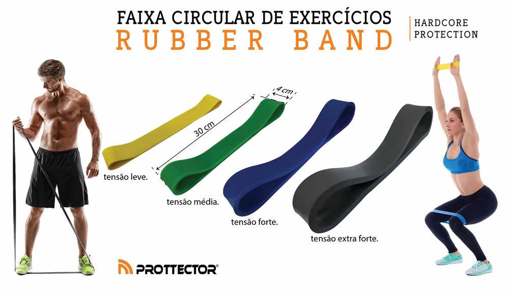 Rubber Mini Band - Elastico de Pilates - Forte - Azul- Prottector  - Loja do Competidor