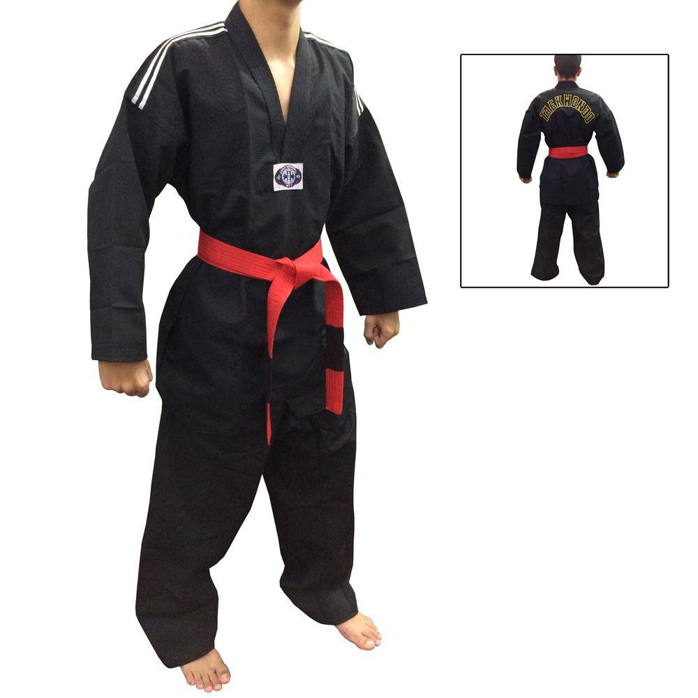 Dobok / Kimono Canelado Olimpic - Taekwondo - Adulto - Preto - Sung Ja