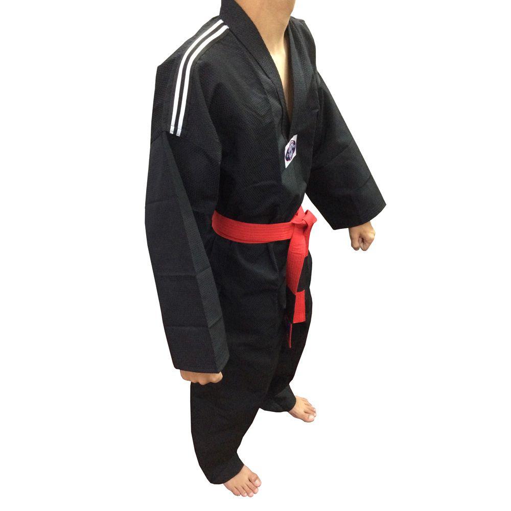 Dobok / Kimono Canelado Olimpic - Taekwondo - Adulto - Preto - Sung Ja  - Loja do Competidor