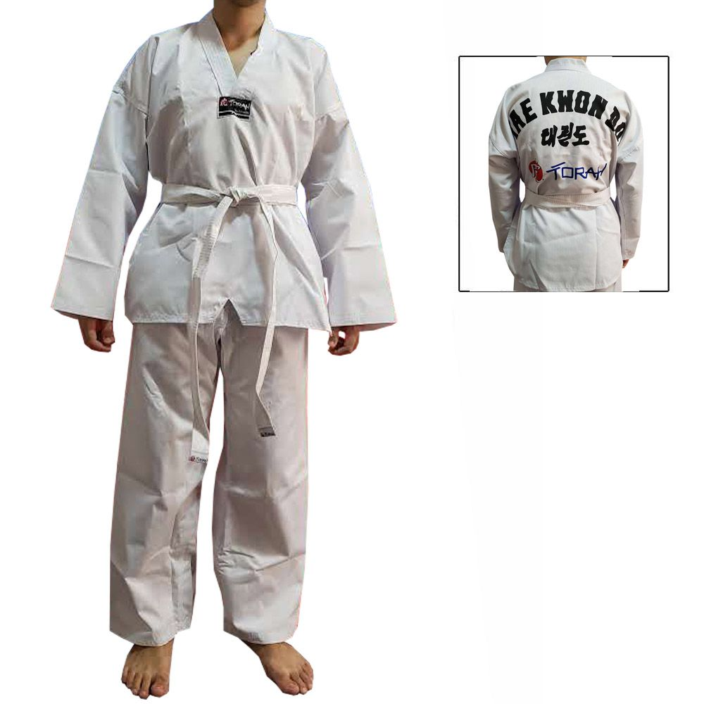 Dobok / Kimono Taekwondo Canelado - Branco - Adulto - Torah