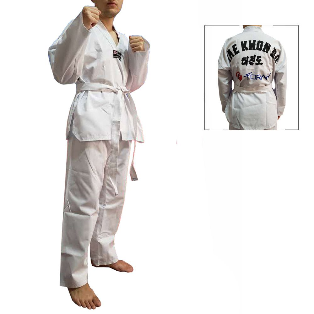 Dobok / Kimono Taekwondo Canelado - Branco - Infantil - Torah