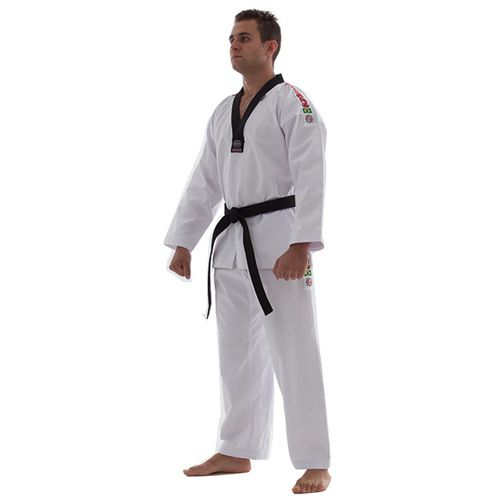 Dobok Kimono Taekwondo Start - Branco - Gola Preta - Adulto - Shiroi