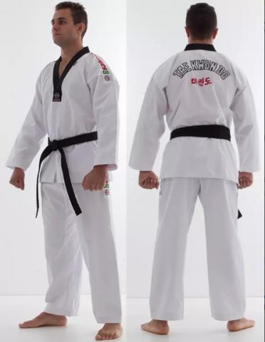 Dobok Kimono Taekwondo Start - Branco - Gola Preta - Adulto - Shiroi  - Loja do Competidor