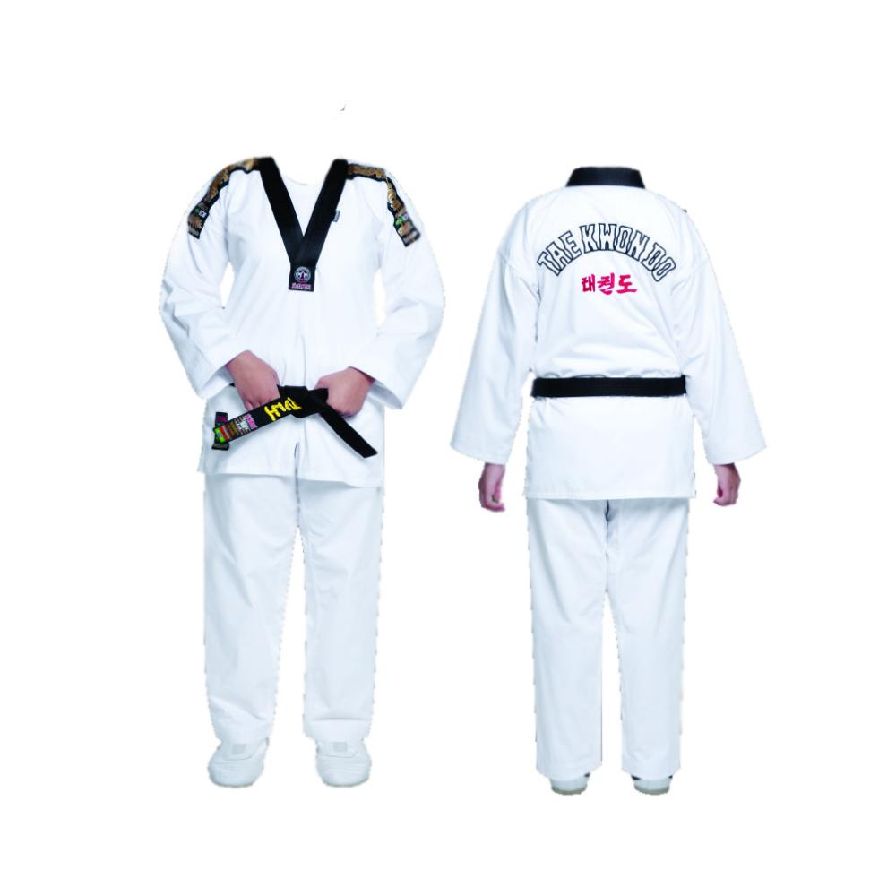 Dobok / Kimono Taekwondo Start - Gold Patch - Branco - Gola Preta - Adulto - Shiroi