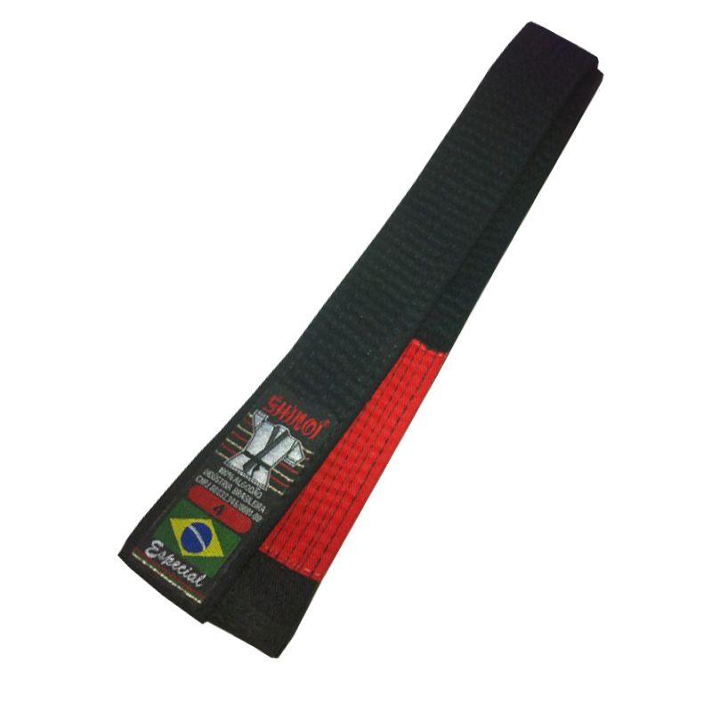 Faixa Preta com Ponta Vermelha - 10 Costuras - Shiroi