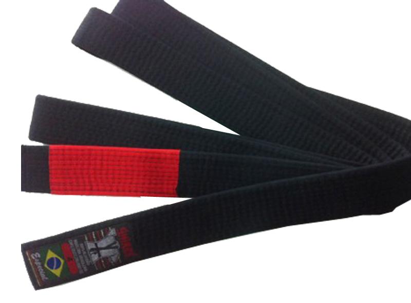 Faixa Preta com Ponta Vermelha - 10 Costuras - Shiroi  - Loja do Competidor