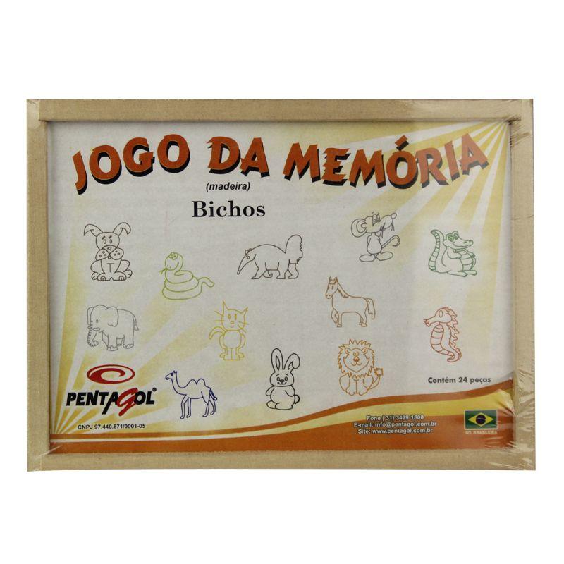 Jogo de Mesa / Tabuleiro - Memória - Animais - 24 Peças - Madeira-  Pentagol