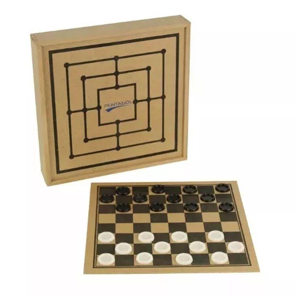 Jogo de Tabuleiro Dama com Estojo - Madeira - 2492 - Pentagol