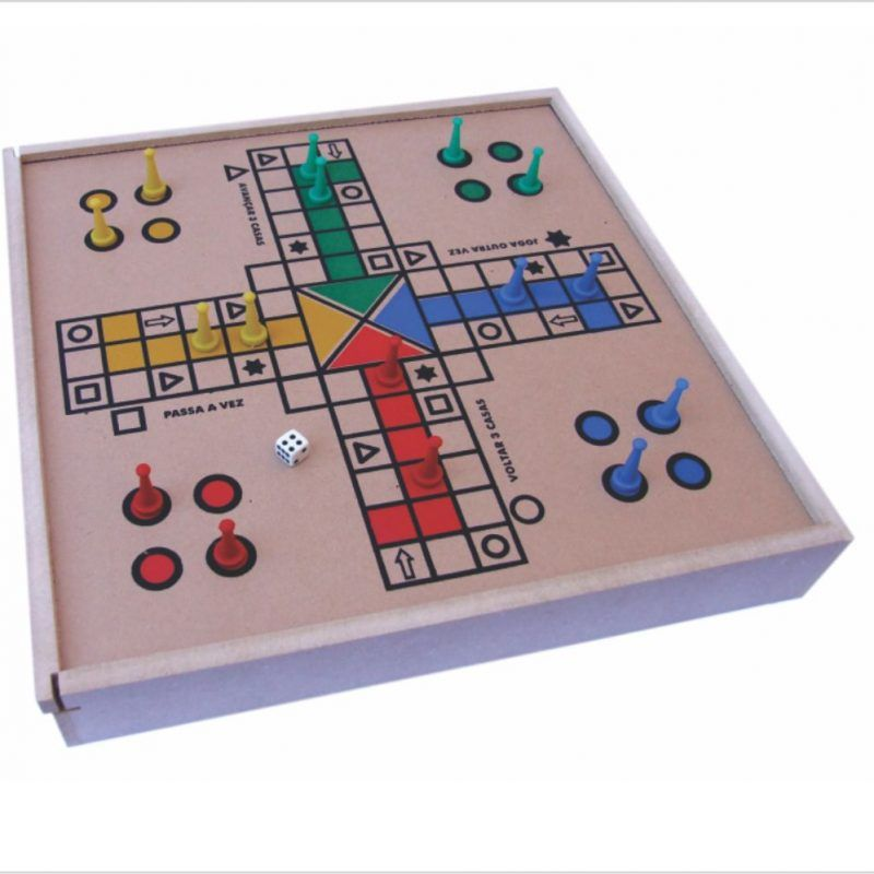 Jogo de Tabuleiro Ludo Real  - Madeira - Com Estojo - Pentagol