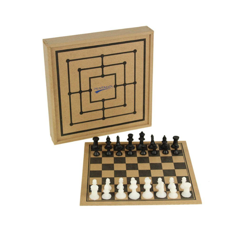 Jogo de Tabuleiro - Xadrez com Estojo - 32 Peças - Madeira - Pentagol  - Loja do Competidor
