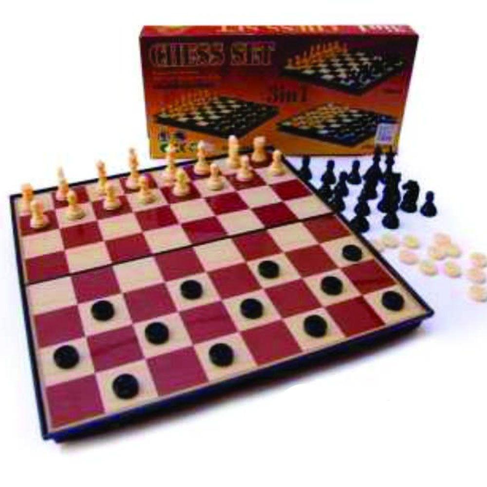 Jogo de Tabuleiro - Xadrez / Damas Magnético - 4415 - Grande - Pentagol
