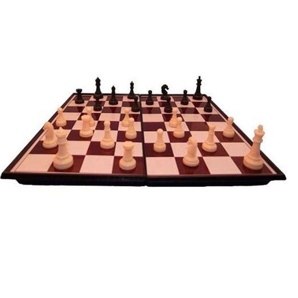 Jogo de Tabuleiro - Xadrez / Damas Magnético - 4415 - Grande - Pentagol  - Loja do Competidor