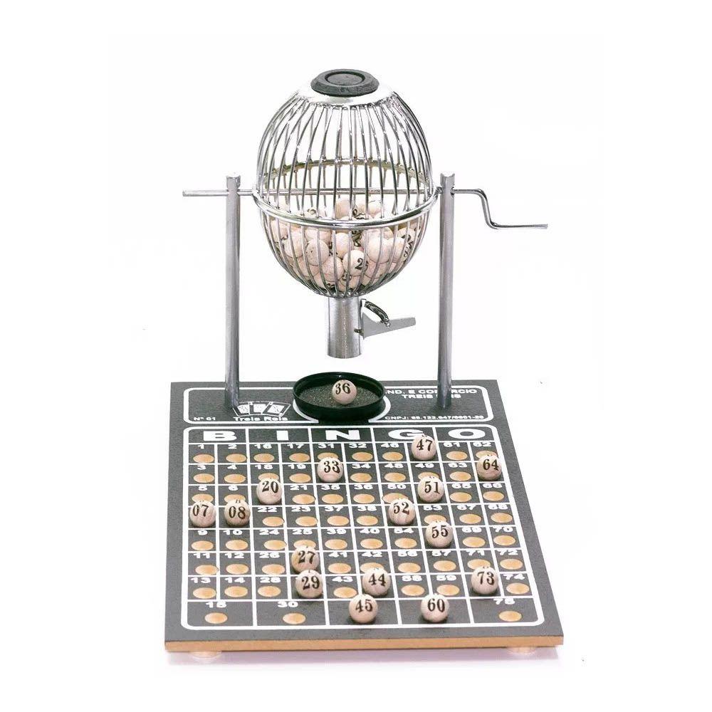 Jogo de Bingo Sorteio - N1 - 75 Pedras - Cromado - Três Reis