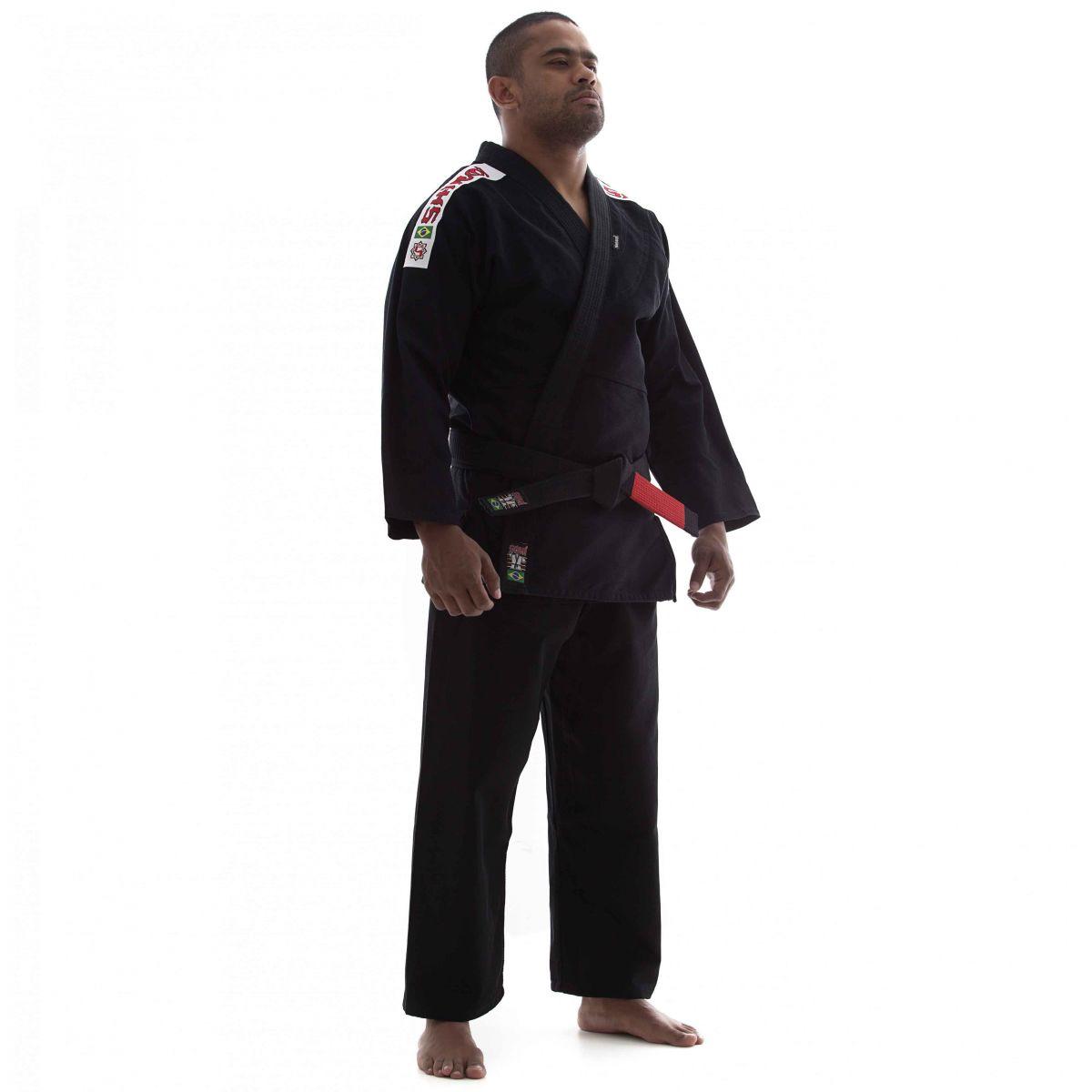 Kimono Jiu Jitsu - Trançadinho - Adulto - Shiroi - Preto  - Loja do Competidor