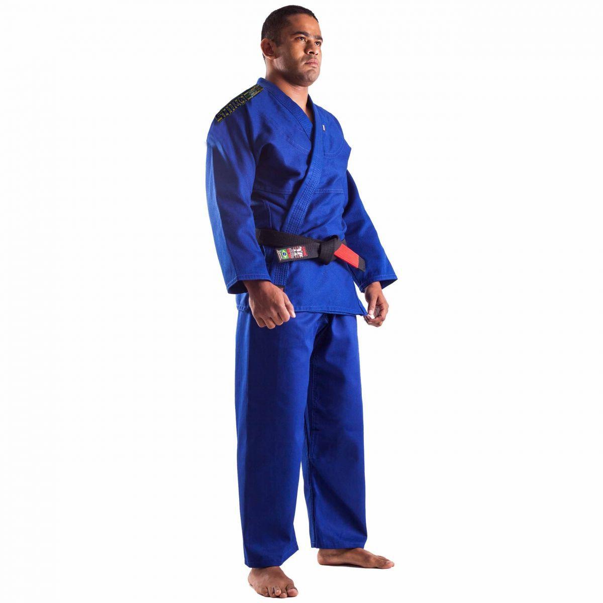 Kimono Jiu Jitsu - Trançadinho - Single  - Adulto - Shiroi - Azul .